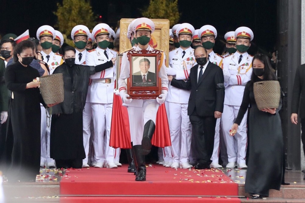 Lễ di quan nguyên Tổng Bí thư Lê Khả Phiêu. Ảnh: VGP/Nhật Bắc
