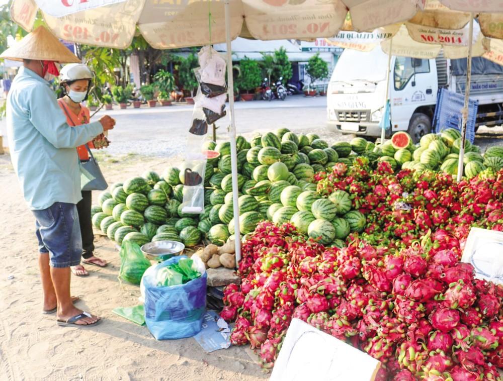 Thanh long và dưa hấu được bày bán tại một điểm bán trái cây ở quận Ninh Kiều, TP Cần Thơ.