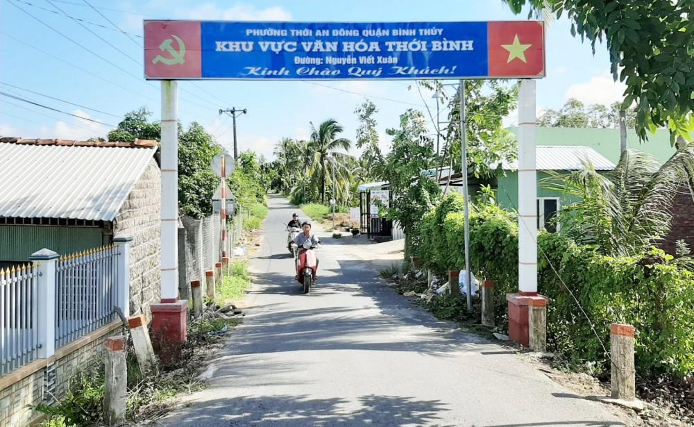 Nhiều tuyến đường, cổng chào ở phường Thới An Đông được xây dựng khang trang.