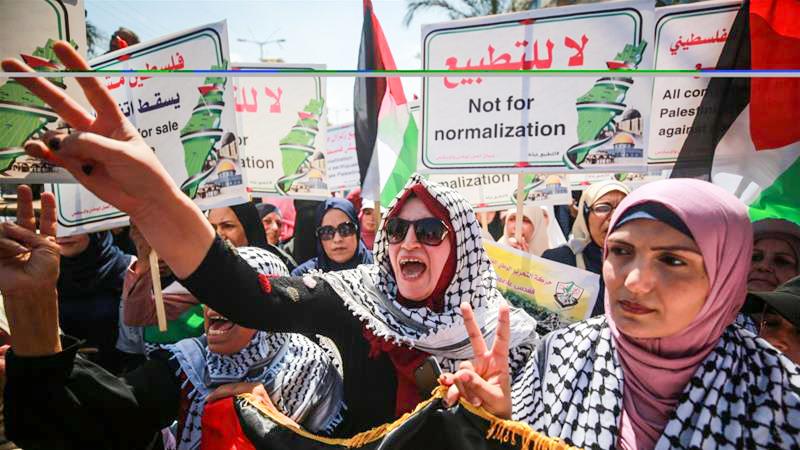 Người Palestine tại Dải Gaza phản đối thỏa thuận giữa UAE và Israel. Ảnh: Anadolu Agency