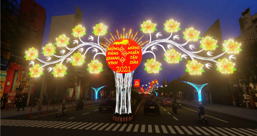 Một phương án thiết kế cổng chào của Đường đèn nghệ thuật TP Cần Thơ 2021. Ảnh: HUY NAM