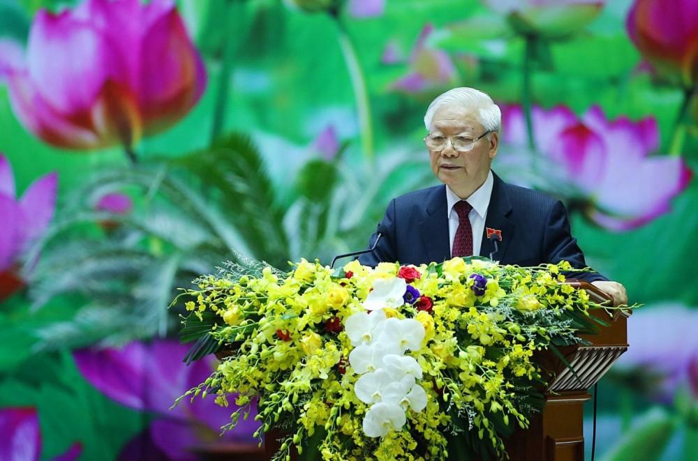 Tổng Bí thư, Chủ tịch nước Nguyễn Phú Trọng, Bí thư Quân ủy Trung ương, phát biểu chỉ đạo Đại hội. Ảnh: Dương Giang - TTXVN