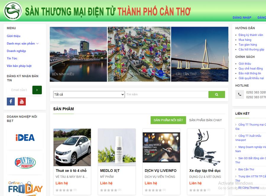 Giao diện website của Sàn thương mại điện tử TP Cần Thơ.