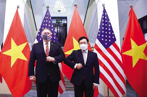 Phó Thủ tướng, Bộ trưởng Ngoại giao Phạm Bình Minh và Ngoại trưởng Mỹ Pompeo. Ảnh: VGP/Hải Minh