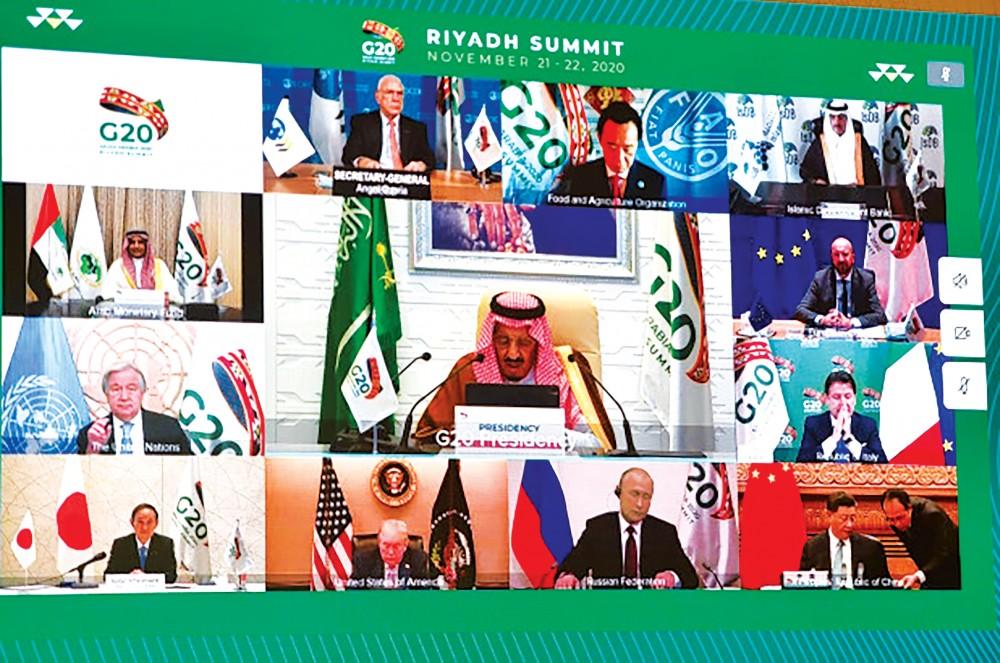 Các nhà lãnh đạo G20 tham dự Hội nghị thượng đỉnh theo hình thức trực tuyến. Ảnh: AFP