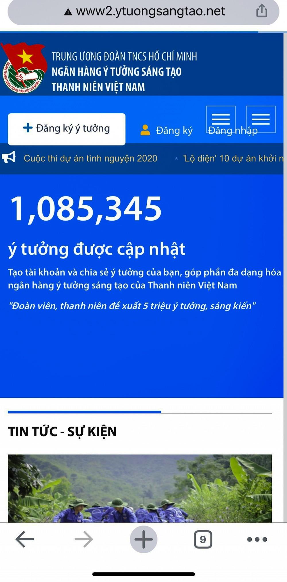 Cổng thông tin Ngân hàng ý tưởng sáng tạo thanh niên Việt Nam, có dữ liệu hơn 1,08 triệu sáng kiến, ý tưởng, trong đó số lượng đáng kể là các lĩnh vực về cải cách hành chính.