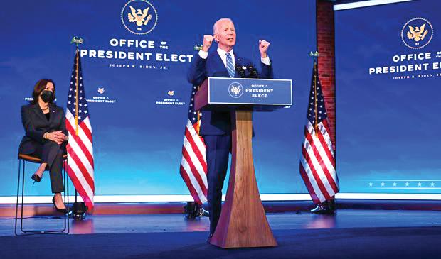 Ông Biden và Phó Tổng thống đắc cử Kamala Harris trong một sự kiện tại Washington. Ảnh: Getty Images