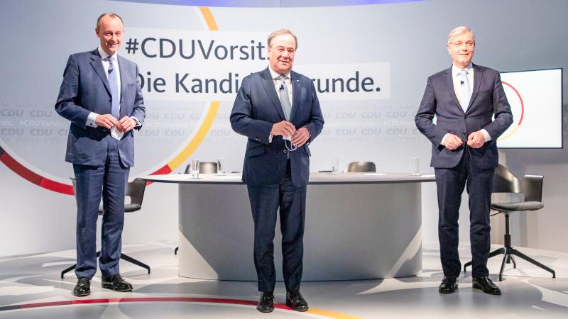 Từ trái sang: các ứng viên Merz, Laschet và Röttgen. Ảnh: EPA