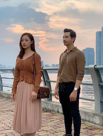 Định Tường (Lưu Quang Anh) và Thụy Đan (Huyền Thạch) trong phim.