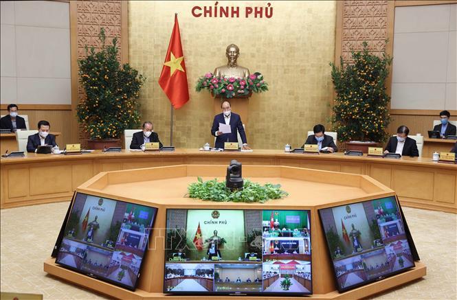 Thủ tướng Nguyễn Xuân Phúc phát biểu tại phiên họp. Ảnh: Thống Nhất/TTXVN