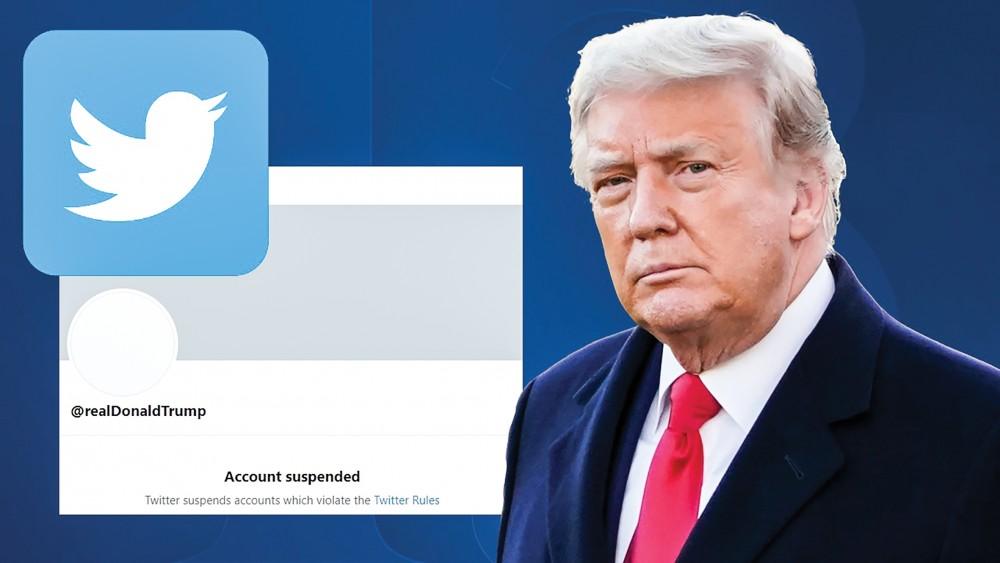 Tài khoản Twitter của ông Trump bị cấm vĩnh viễn sau vụ bạo loạn. Ảnh: Slate