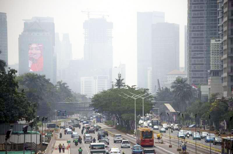 Không khí ở thủ đô Jakarta của Indonesia bị ô nhiễm nặng nề.