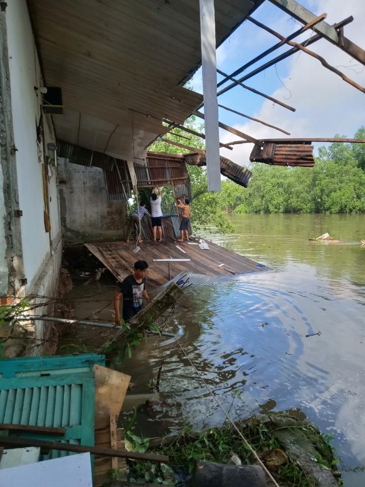 Hiện trường vụ sạt lở tại phường Ba Láng. Ảnh: CTV