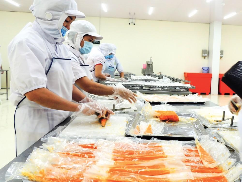 Trong tháng 5-2021, mặc dù số lượng DN, vốn đăng ký mới giảm so với tháng trước nhưng nhìn chung vẫn cao hơn so với thời điểm tháng 5-2020. Trong ảnh: Hoạt động sản xuất của Công ty CP Thực phẩm Phạm Nghĩa.