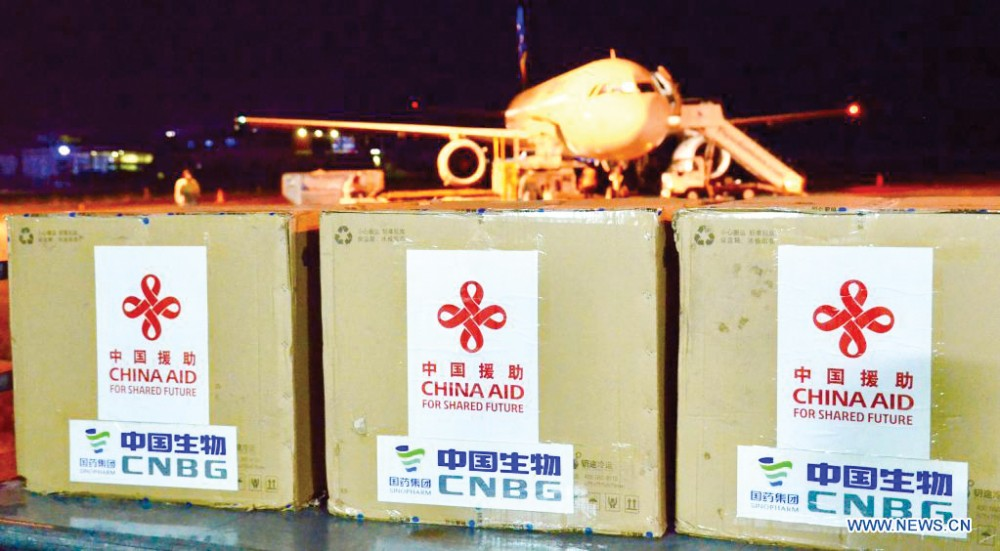 Viện trợ của Trung Quốc trong đại dịch COVID-19 tới quần đảo Solomon. Ảnh: Xinhua