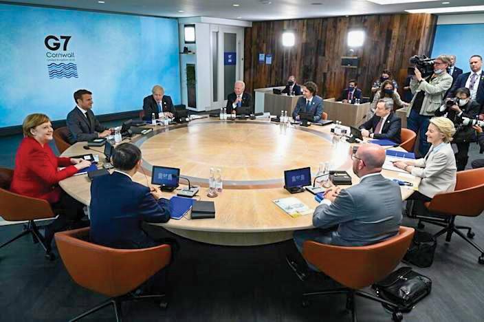Hội nghị thượng đỉnh của các nhà lãnh đạo G7 tại hạt Cornwall, Tây Nam nước Anh hôm 12-6. Ảnh: Reuters