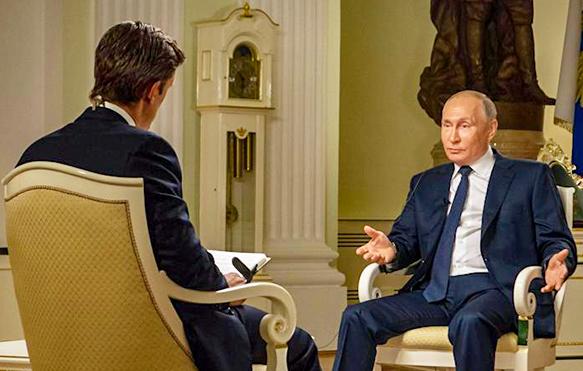 Ông Putin trả lời phỏng vấn của nhà báo kênh truyền hình Mỹ NBC News. Ảnh: NBC News
