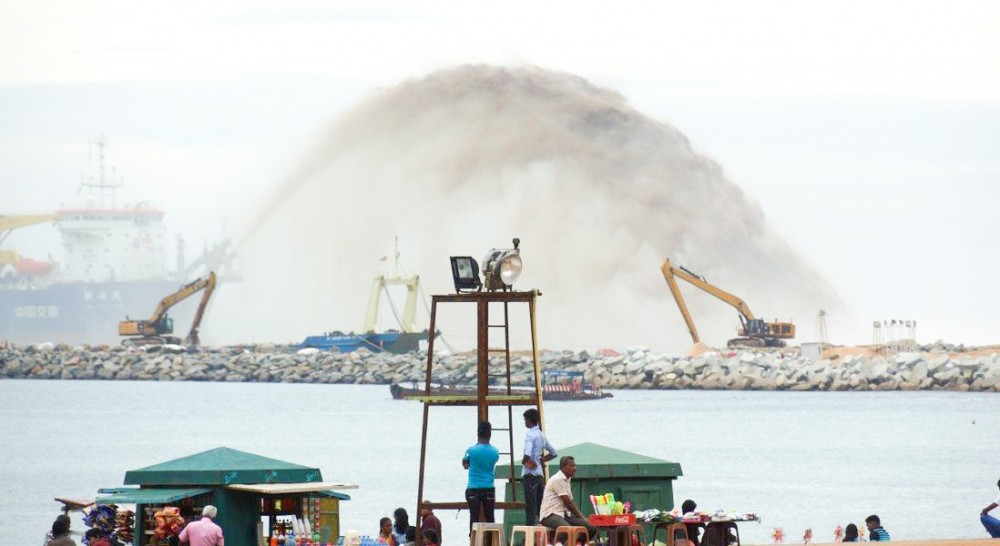 Địa điểm xây dựng thành phố cảng Colombo. Ảnh: Xinhua