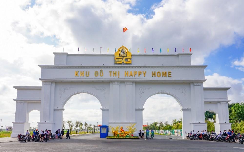 Cổng chào vững chãi, uy nghi với thiết kế độc đáo cũng là công trình biểu tượng của Happy Home.