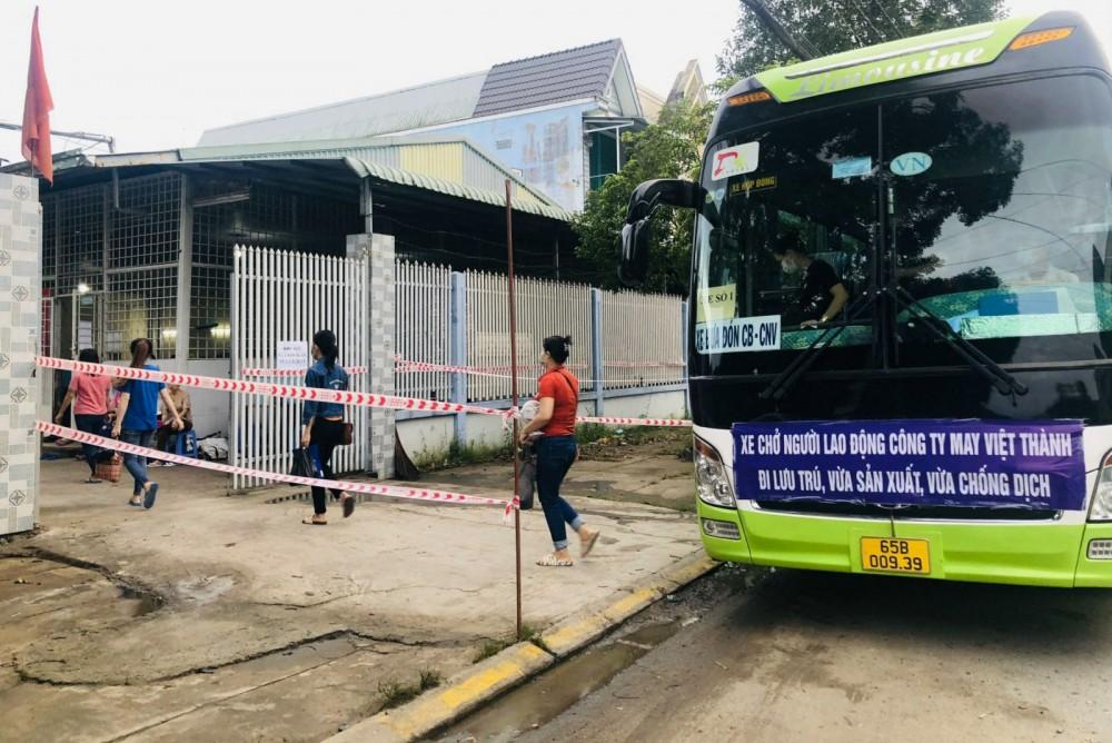 Công ty TNHH May xuất khẩu Việt Thành tổ chức xe đưa công nhân đến nơi sản xuất tập trung. Ảnh: CTV.