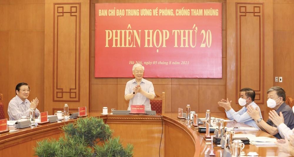 Tổng Bí thư Nguyễn Phú Trọng phát biểu kết luận Phiên họp thứ 20. Ảnh: TRÍ DŨNG – TTXVN