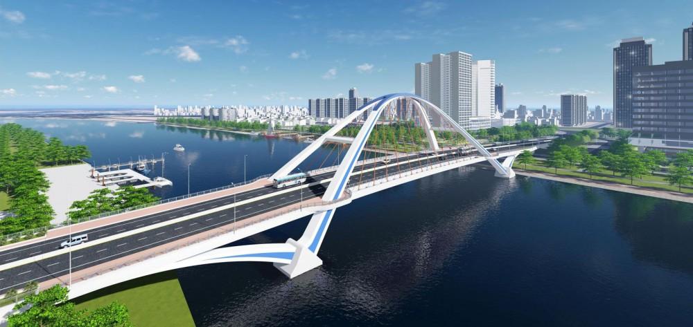 Cầu Trần Hoàng Na là công trình lớn nhất thuộc Dự án 3, bắc qua sông Cần Thơ dài 586,9m, nối quận Ninh Kiều với quận Cái Răng. Công trình khi hoàn thành sẽ kết nối giao thông đô thị giữa quốc lộ 1A với các đường trung tâm, giảm tải lưu lượng xe và ùn tắc giao thông cho các tuyến đường chính thành phố. Đây cũng là mạch nối, đòn bẩy thúc đẩy phát triển kinh tế, thu hút ngày càng nhiều nhà đầu tư đến với TP Cần Thơ. Công trình có kiến trúc đẹp, tạo điểm nhấn cho đô thị Cần Thơ. Trong ảnh: Phối cảnh cầu Trần Hoàng Na.
