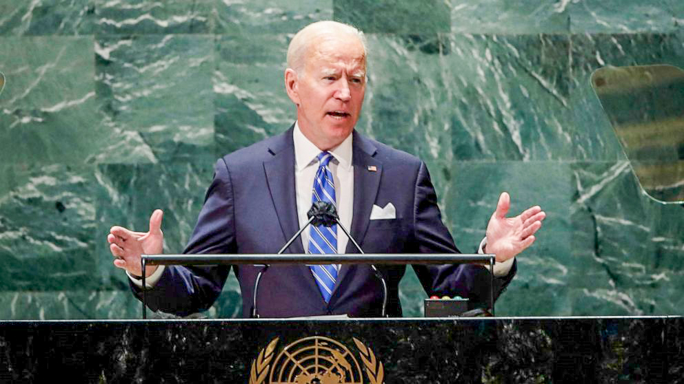 Tổng thống Mỹ Biden phát biểu trước Đại Hội đồng Liên Hiệp Quốc hôm 21-9. Ảnh: AFP