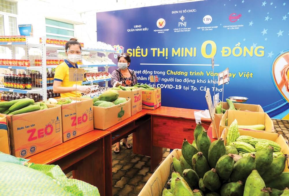 Nông sản có mặt tại một siêu thị 0 đồng trên địa bàn quận Ninh Kiều, TP Cần Thơ.
