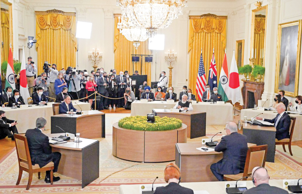 Các lãnh đạo Bộ tứ tại cuộc gặp thượng đỉnh ở Nhà Trắng hôm 25-9. Ảnh: Kyodo News