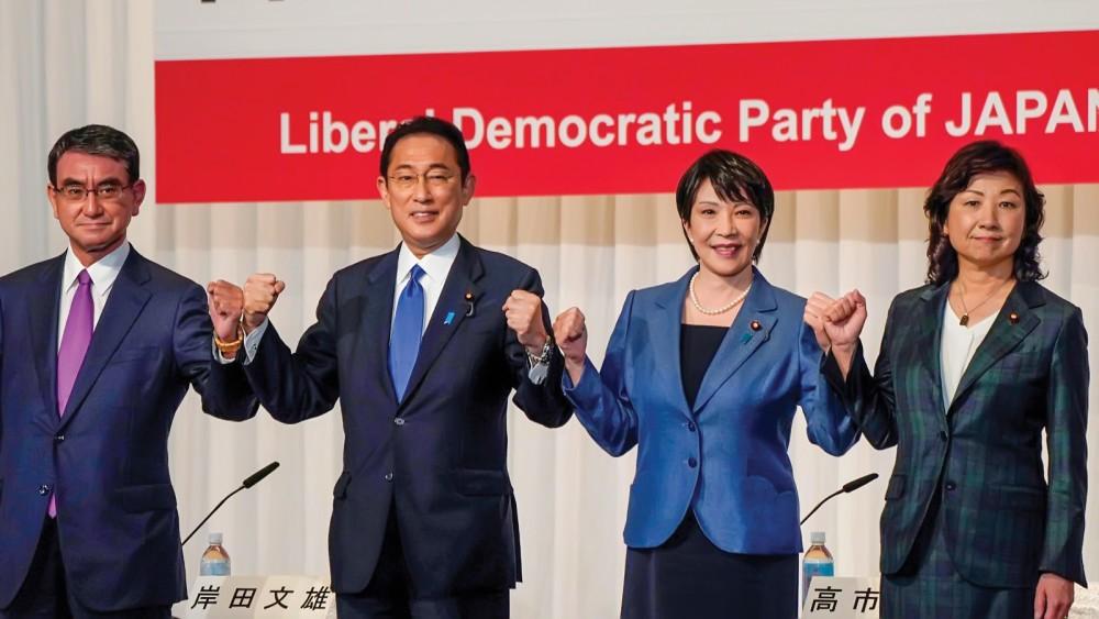Từ trái sang: Các ông Kono, Kishida và hai ứng viên nữ Takaichi và Noda. Ảnh: Getty Images