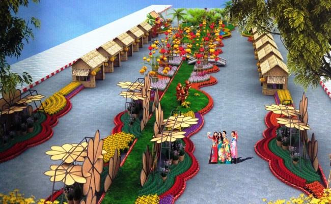 Đường hoa năm nay vẫn sẽ được tổ chức tại đường đôi Võ Văn Tần– Nguyễn Thái Học với tổng chiều dài trang trí 315m, chiều rộng 22m. Ảnh: PV