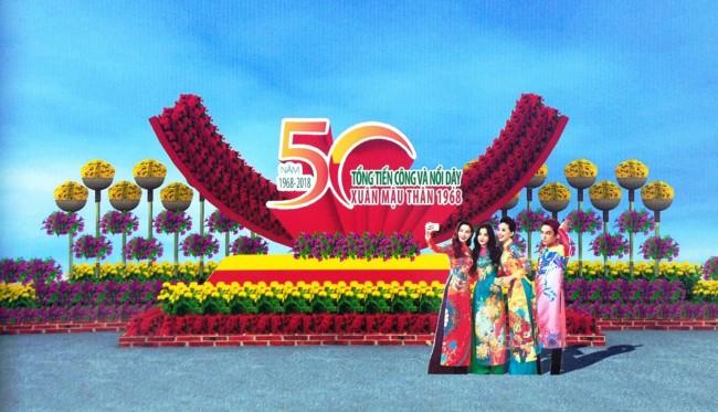 Tiểu cảnh với logo kỷ niệm 50 năm Tổng tiến công và nổi dậy Xuân Mậu Thân 1968. Ảnh: PV