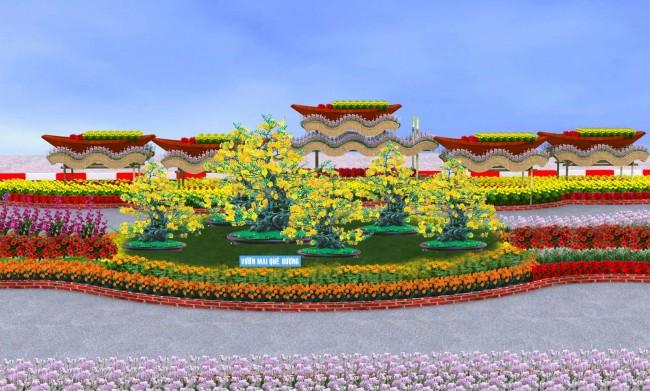 Mô hình vườn mai quê hương (ở đoạn 1)