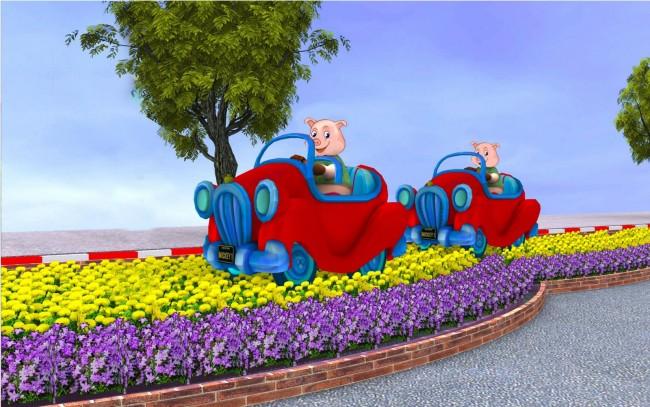 Mô hình heo lái xe (ở đoạn 3).
