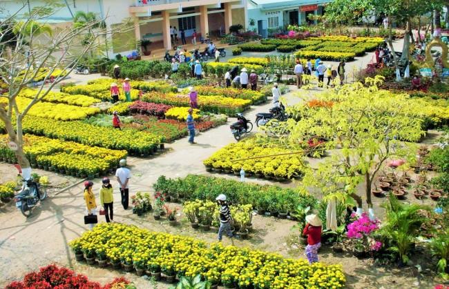 Chợ hoa ngày Tết rực rỡ sắc màu đã giúp điểm tô cho mùa xuân thêm vui vẻ. Ngày Tết, gia đình nào cũng sắm vài chậu bông chưng trước cửa nhà, lâu dần thành tục lệ.