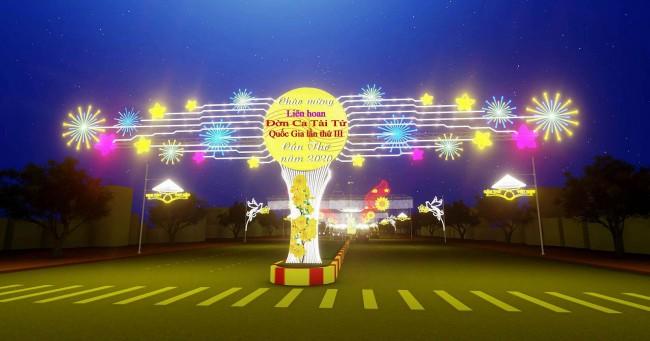 Cổng chào tại ngã ba Quang Trung- 30 Tháng 4 (phối cảnh ban đêm).