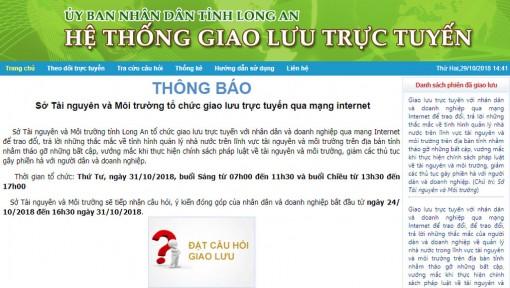 Sở Tài nguyên và Môi trường Long An giao lưu trực tuyến với nhân dân