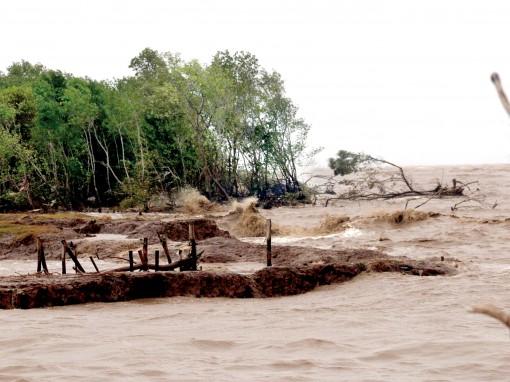 Nhiều đoạn đê quốc phòng ven biển Kiên Giang bị sạt lở nghiêm trọng