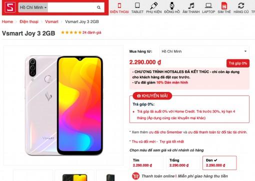12.000 Vsmart Joy3 đã được bán ra sau 14h lên kệ