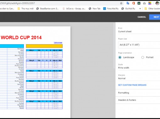 Cách in tập tin bảng tính trong Google Sheets