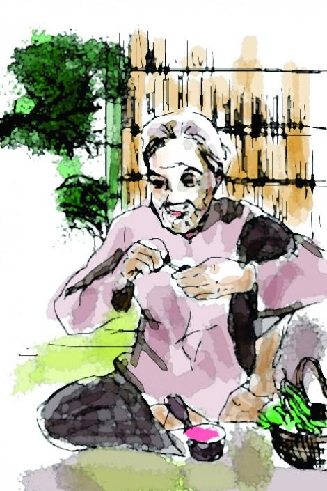 Mẹ ngồi đếm tiếng lá rơi