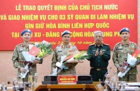 Thêm 3 sĩ quan Quân đội nhân dân Việt Nam đi làm nhiệm vụ gìn giữ hòa bình Liên Hiệp Quốc