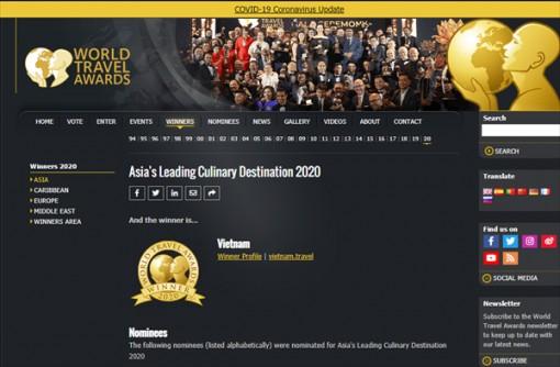 """Giải """"Oscar của ngành Du lịch Thế giới"""" vinh danh Việt Nam"""