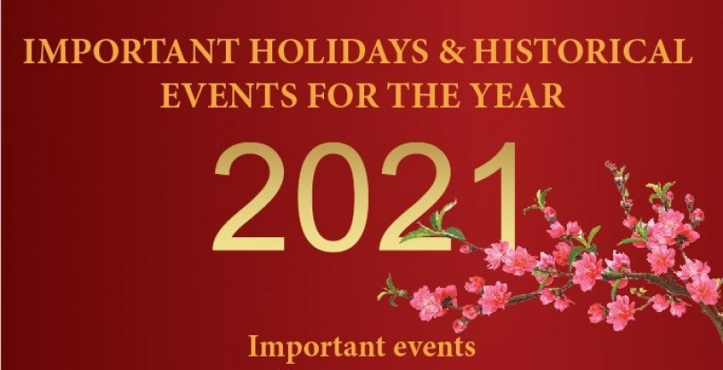 Important holidays and historical events for 2021