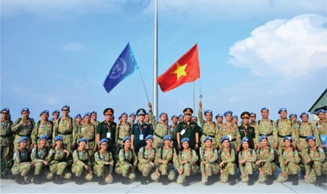 """Vietnamese """"blue beret"""" soldiers with aspirations for world peace"""