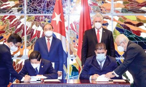 Chủ tịch nước Nguyễn Xuân Phúc hội đàm với Bí thư thứ nhất, Chủ tịch Cuba Miguel Díaz-Canel