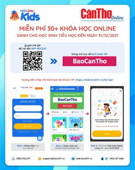 """Nhập mã """"BaoCanTho"""" để học online miễn phí học kỳ 1 năm học 2021-2022"""