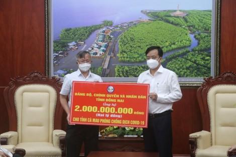 Đồng Nai hỗ trợ Cà Mau 2 tỉ đồng phòng chống dịch