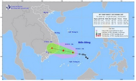 Áp thấp nhiệt đới cách bờ biển Khánh Hòa-Ninh Thuận khoảng 140km